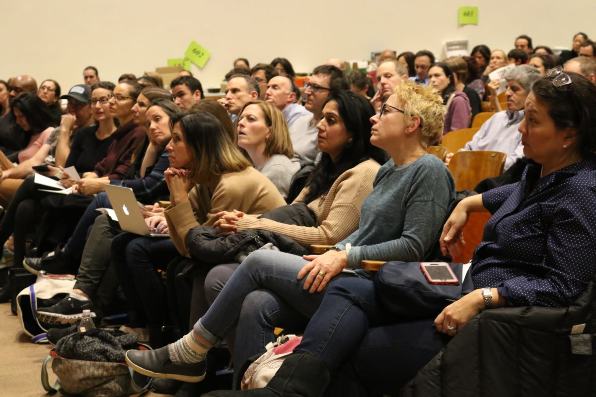 District 3 parents gathered at Booker T. Washington middle school to learn more about the city's proposal to eliminate the exam that serves as the sole entrance criteria for specialized high schools.