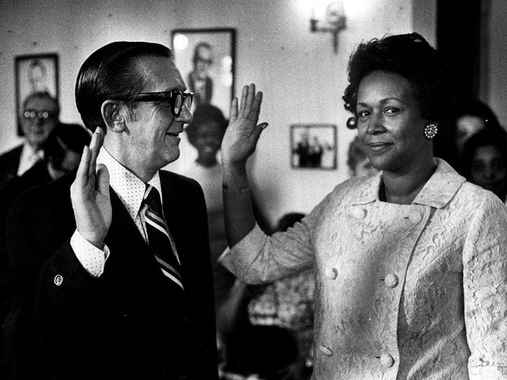 Ethel Skyles Alexander is sworn in as a deputy clerk by Cook County County Clerk Matthew J. Danaher. | Sun-Times file photo