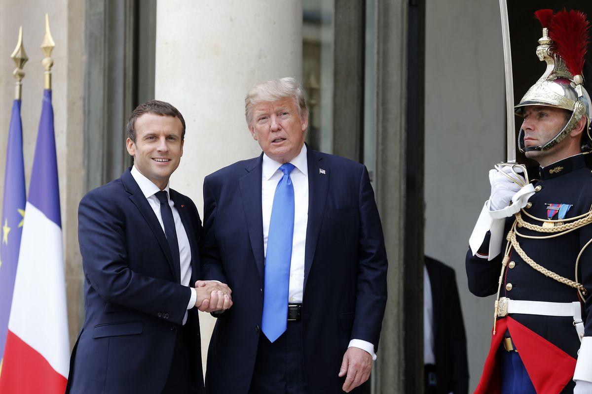 French President Emmanuel Macron Receives   U.S. President Donald Trump At Elysee Palace