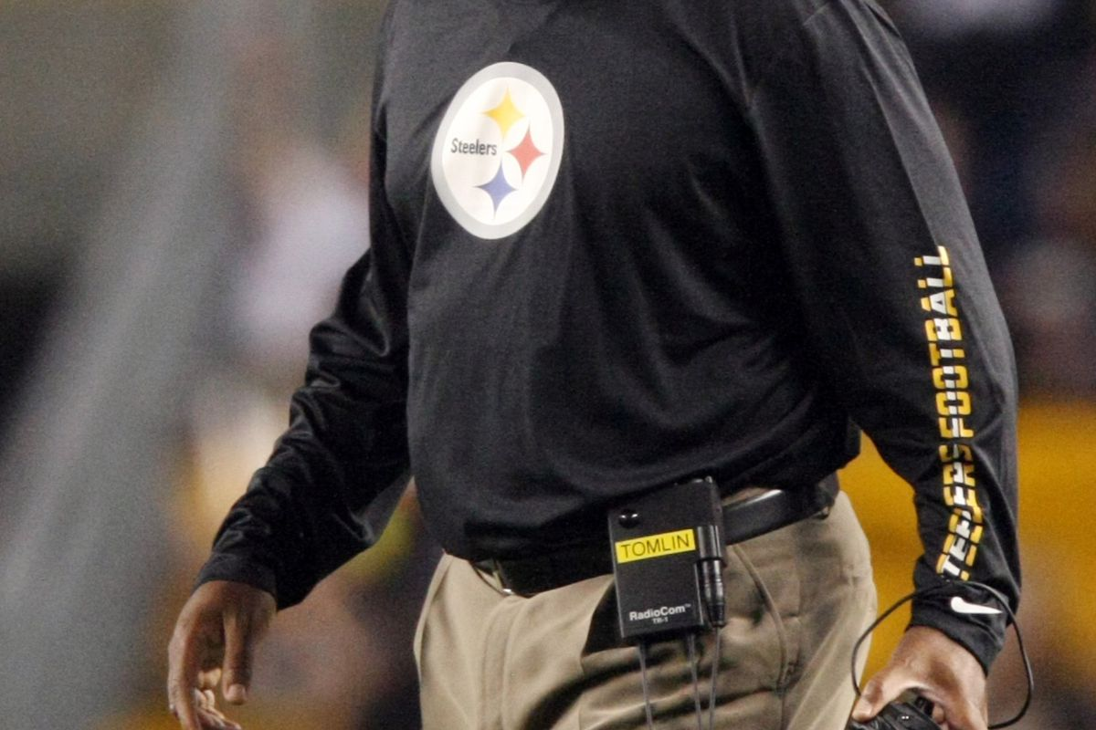 Aug 19, 2012; Pittsburgh , PA, USA; Pittsburgh Steelers head coach Mike Tomlin reacts against the Indianapolis Colts during the first half of the game at Heinz Field. Mandatory Credit: Jason Bridge-US PRESSWIRE