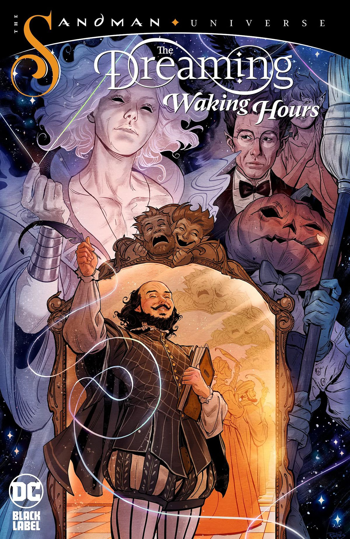 Denizens of the Dreaming watch over mirror, beside which stands William Shakespeare, greeting the reader on the cover of The Dreaming: Waking Hours (2021).
