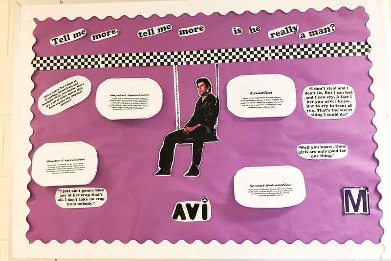 A purple poster with quotes exemplifying stereotypically macho attitudes, and a cut-out photograph of John Travolta.