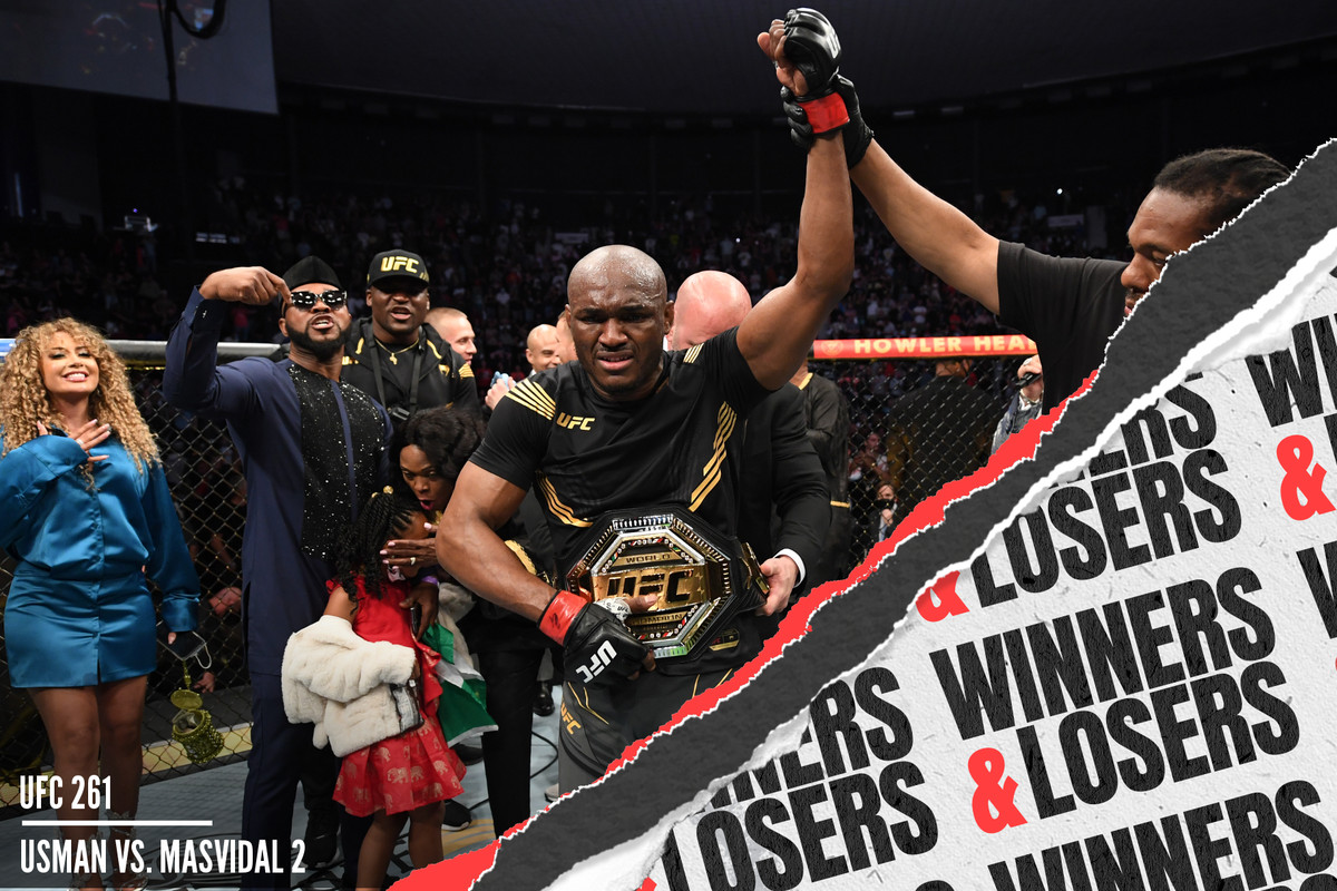 Kamaru Usman celebrates after his UFC 261 KO win vs. Jorge Masvidal.