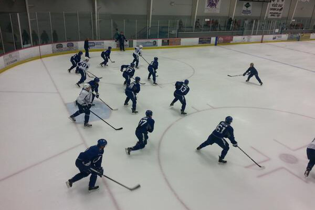 Lightning prospects participate in power skating drills during development camp on July 6, 2013.