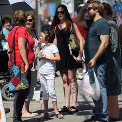 People gather outside of the entrance to the Greek Festival in Salt Lake City on Saturday, Sept. 6, 2014.