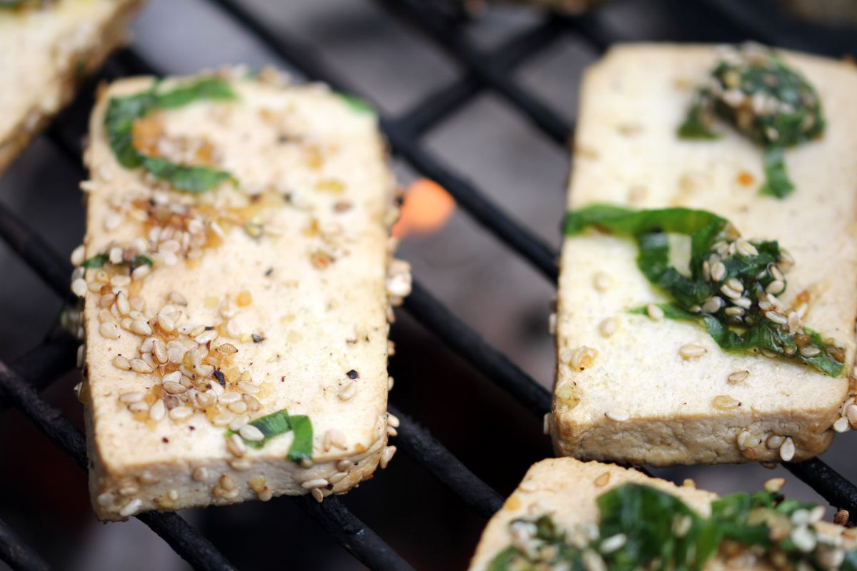 Grilled tofu is an excellent source of healthy protein.