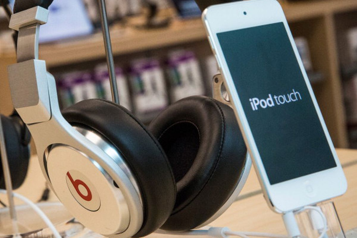 Beats headphones are sold along side iPods in an Apple store on May 9, 2014 in New York City.