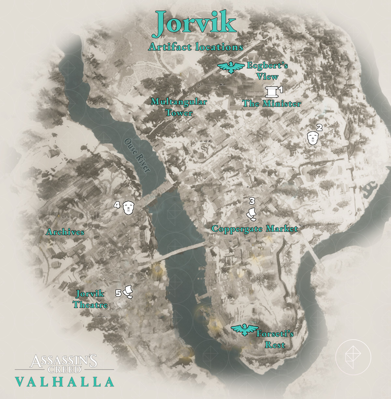 Jorvik Artifacts locations map