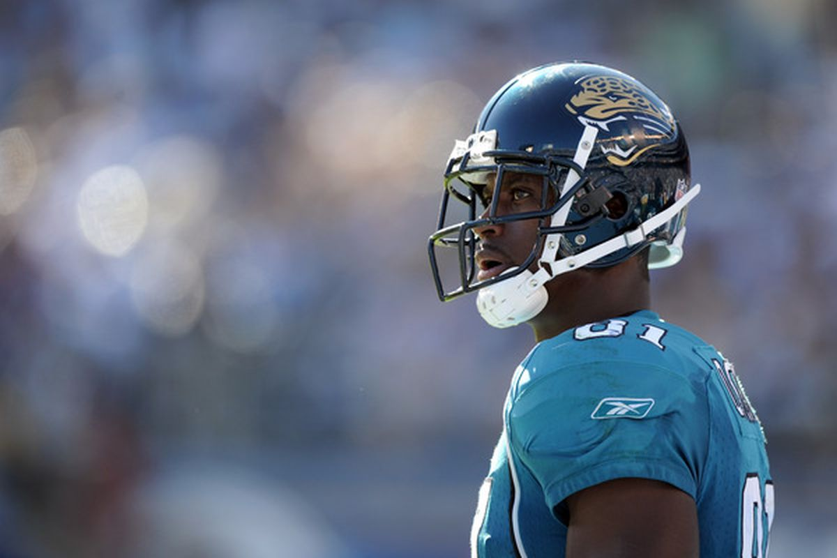 SAN DIEGO - SEPTEMBER 19:  Kassim Osgood #81 of the Jacksonville Jaguars on the sidelines against the San Diego Chargers at Qualcomm Stadium on September 19 2010 in San Diego California.  (Photo by Harry How/Getty Images)