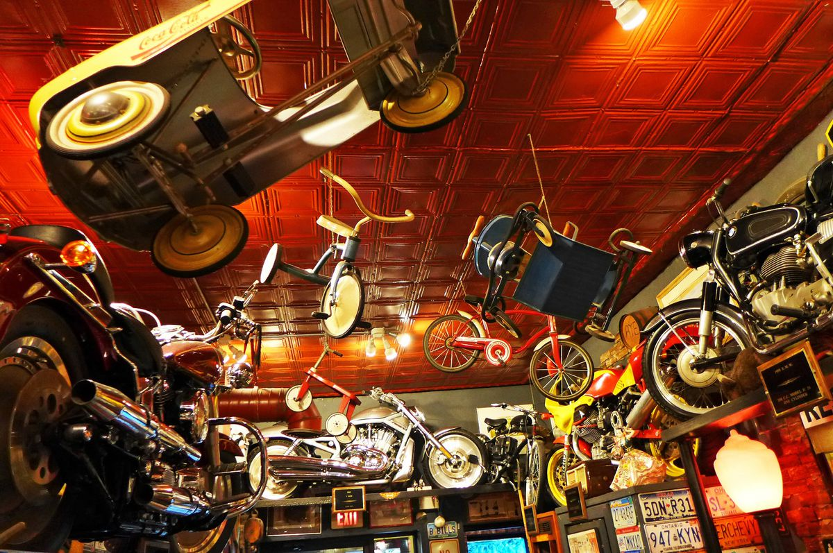 At the original Anchor Bar, all sorts of crazy shit hangs from the ceiling.