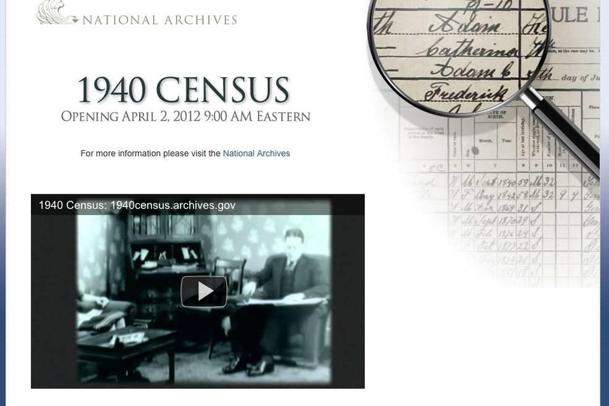 The National Archives and Records Administration and Archives.com have set up at site that will host the 1940 Census on April 2.