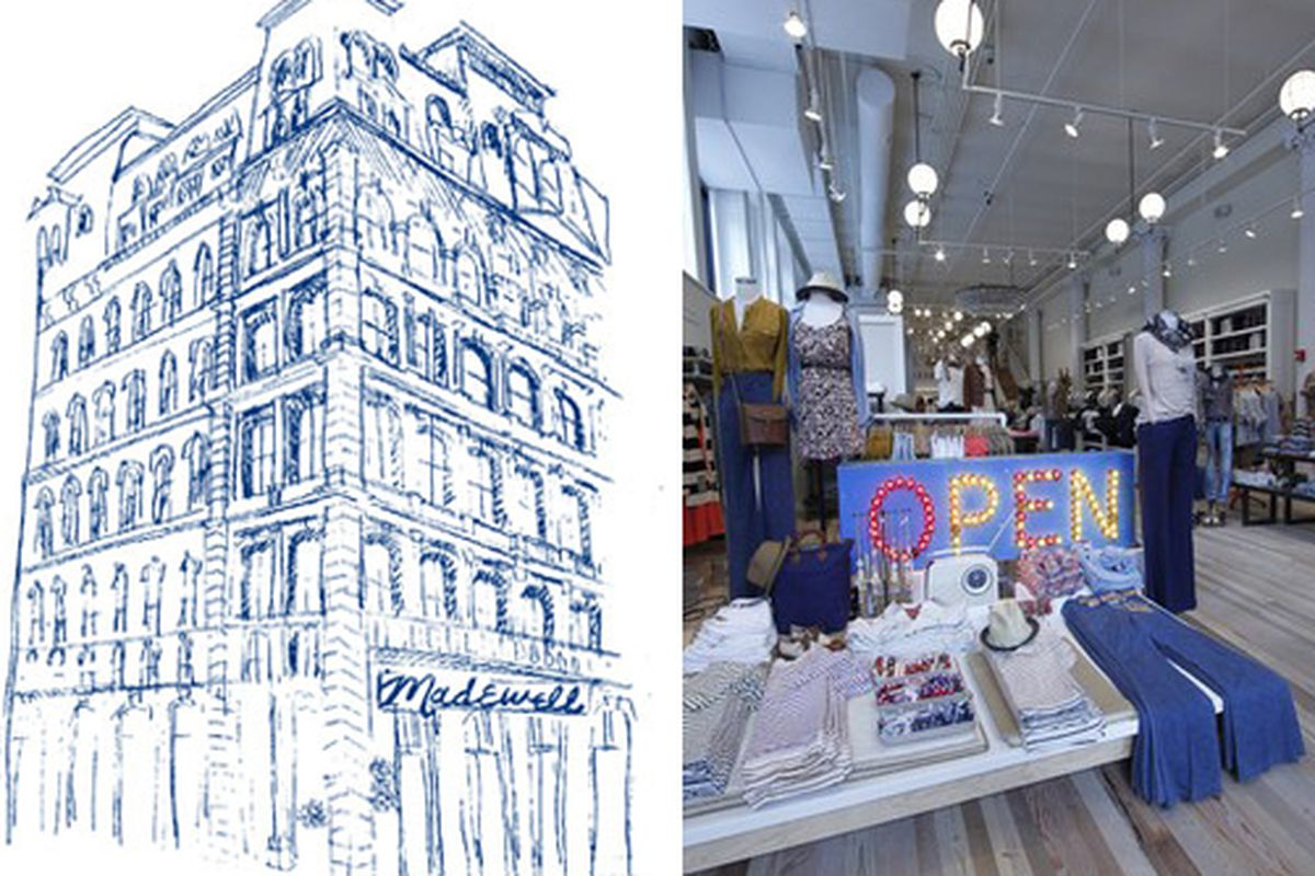 """Sketch at left via <a href=""""http://www.refinery29.com/madewell-nyc"""">Refinery29</a>; photo at right via <a href=""""http://www.wwd.com/retail-news/madewell-opens-in-landmarked-location-3592441?browsets=1303824783623#"""">WWD</a>"""