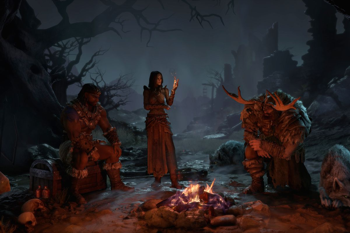 A group of adventurers sits around a campfire in Diablo 4