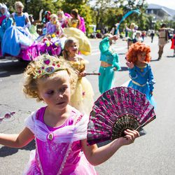 Princesses glide through the Days of '47 Union Pacific Railroad Youth Parade held Saturday, July 18, 2015, in Salt Lake City.
