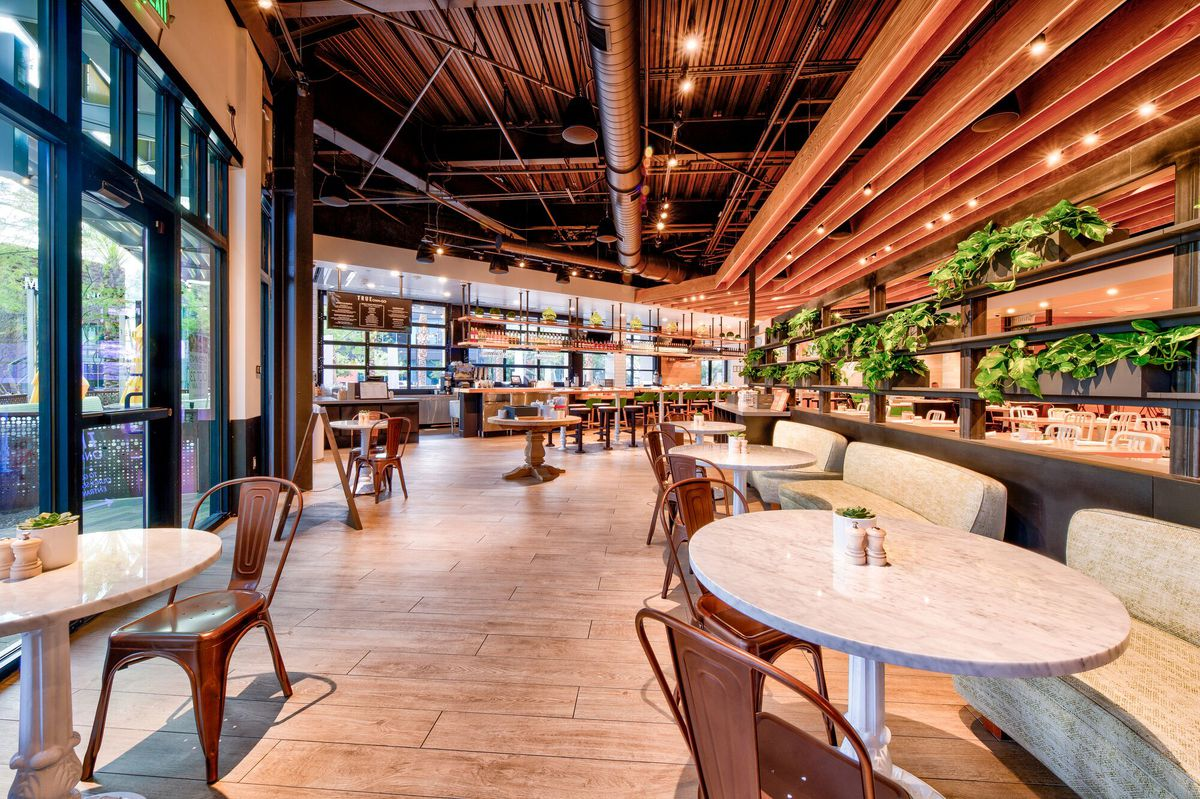 The contemporary meets industrial design of True Food Kitchen.
