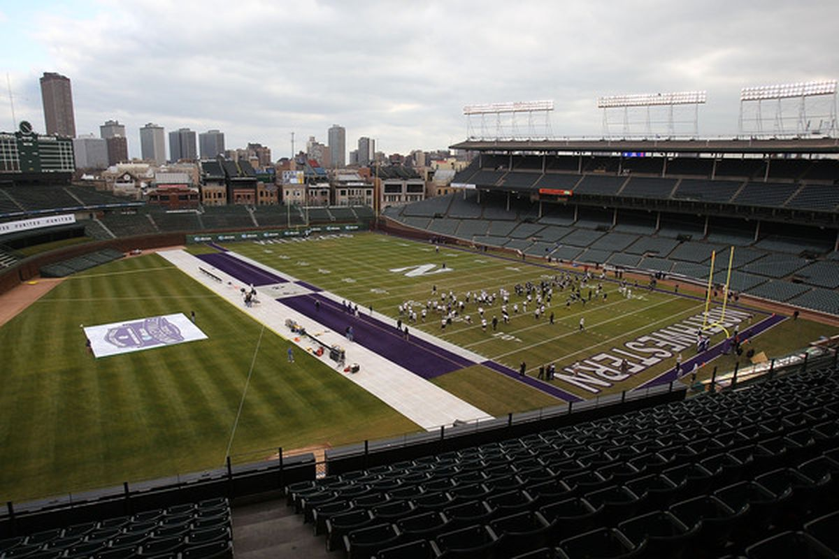<em>Uh yeah. That's right. There is going to be a football game this afternoon at Wrigley.</em>