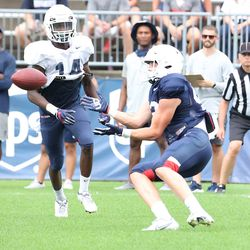 UConn's Kevin Dunn #42 makes a catch at the back of the end zone during the Huskies open practice at Pratt & Whitney Stadium at Rentschler Field in East Hartford, CT on Saturday, August 14, 2021.