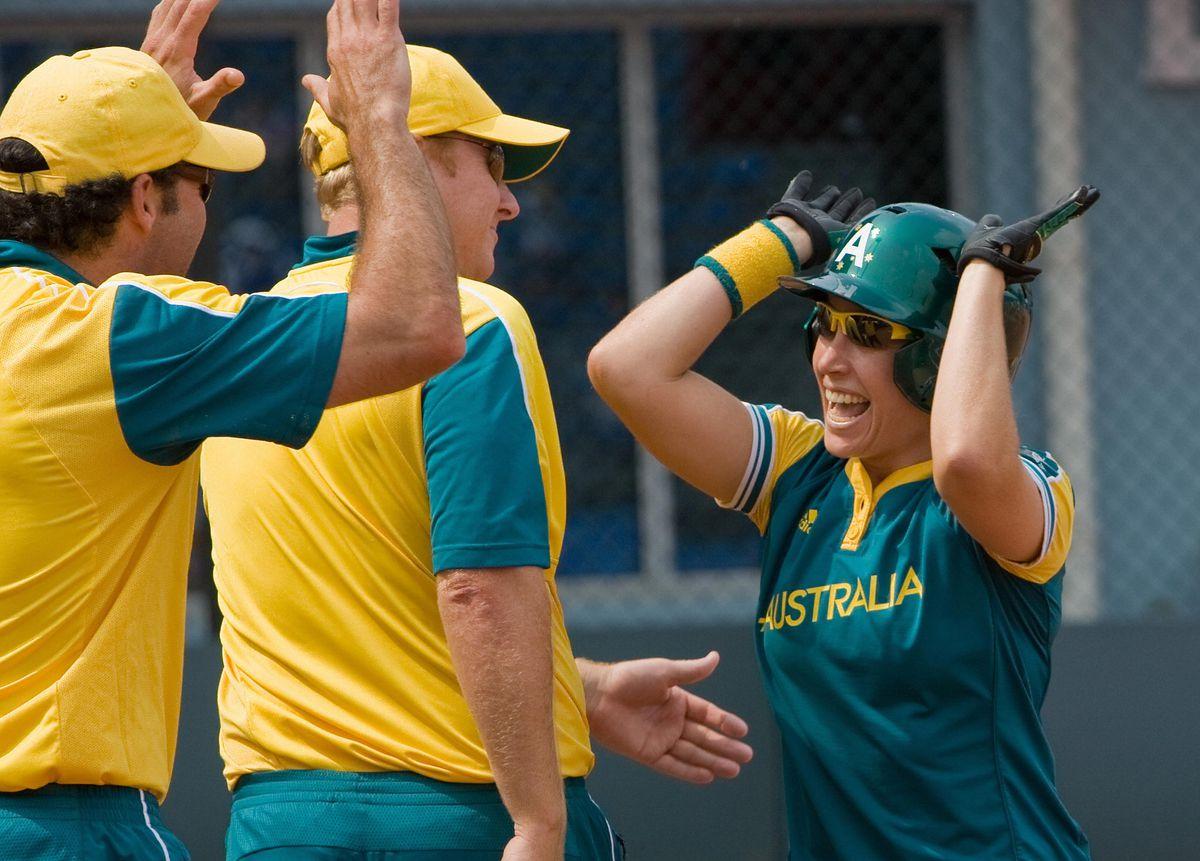 Australia's first base Sheena Lawrick