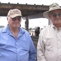 """Glen Brock, left, and Fred Brock are retiring. Their Brocks Brothers Produce stands have been a staple in West Valley City for 44 years. They started the business in their front yard. """"People would come and get their produce and leave the money in the slot,"""" Glen Brock said."""