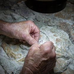 Paleontologist Rick Hunter uses a sharpened carbide needle to  meticulously scrape rock from raptor bones at Thanksgiving Point in Lehi on Thursday, Aug. 31, 2017. The 9-ton chunk of rock may contain the fossils of as many as six different animals and may take as long as 10 years to fully excavate.