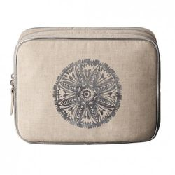 Square Organizer in Natural Linen with Silver Medallion $16.99