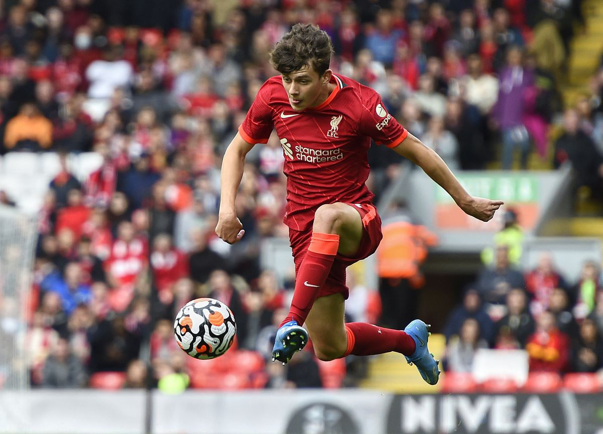 Owen Beck of Liverpool in action during the Liverpool v Athletic Club - Pre-Season Friendly at Anfield on August 8, 2021 in Liverpool, England.