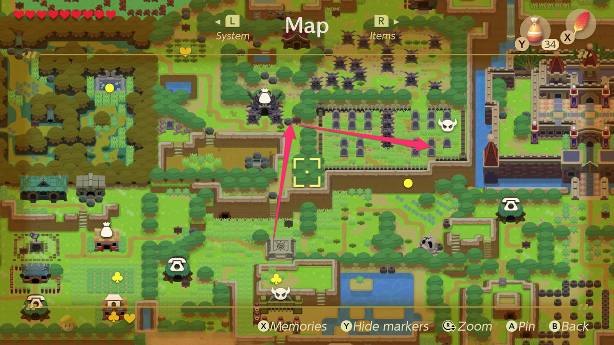 Link's Awakening path to the Cemetery and the location of the Color Dungeon