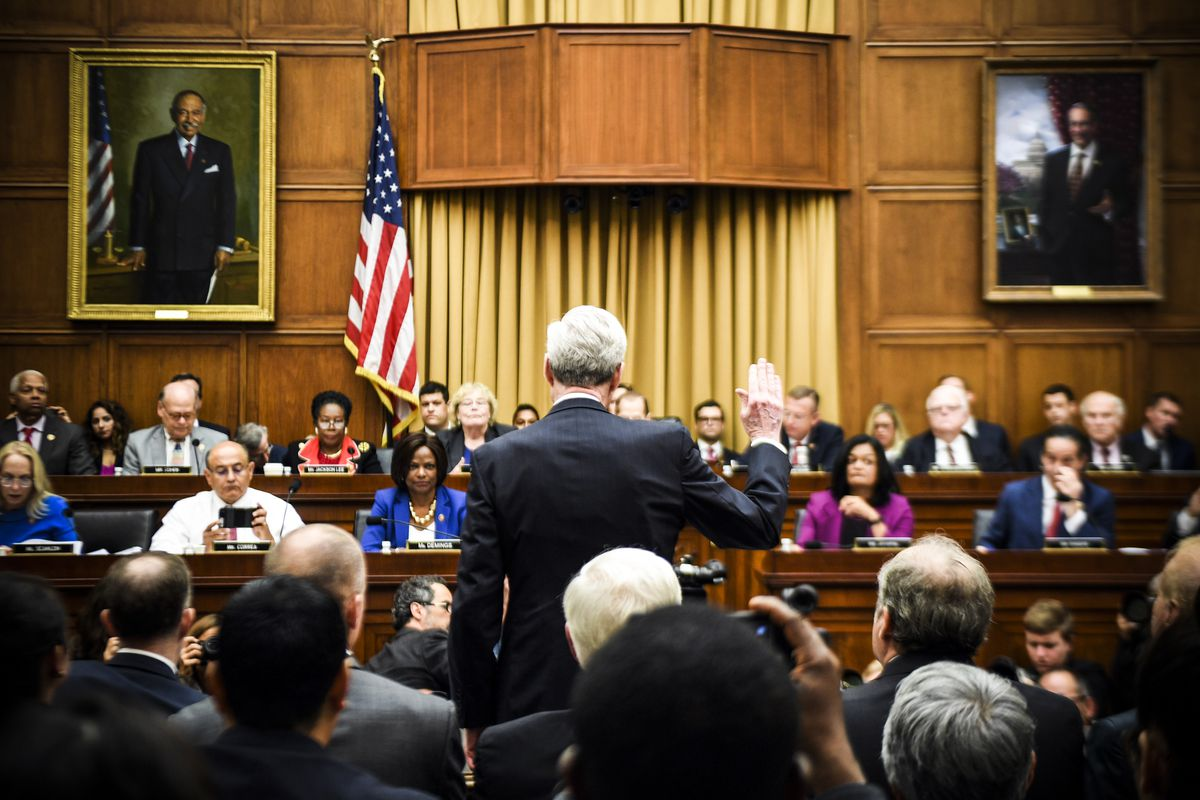 Former Special Prosecutor Robert Mueller is sworn in for his testimony before Congress on July 24, 2019.