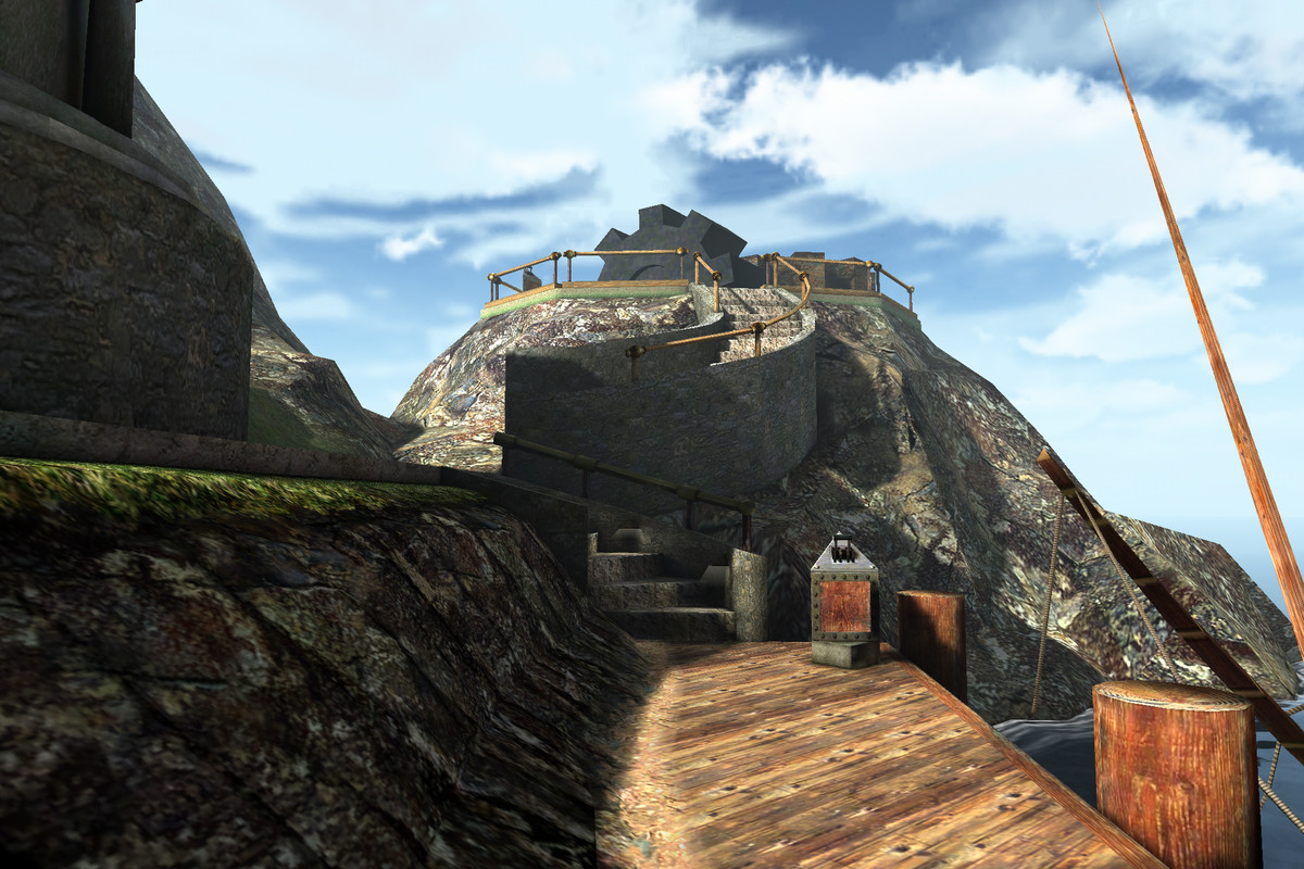 the walkway to the island in Myst