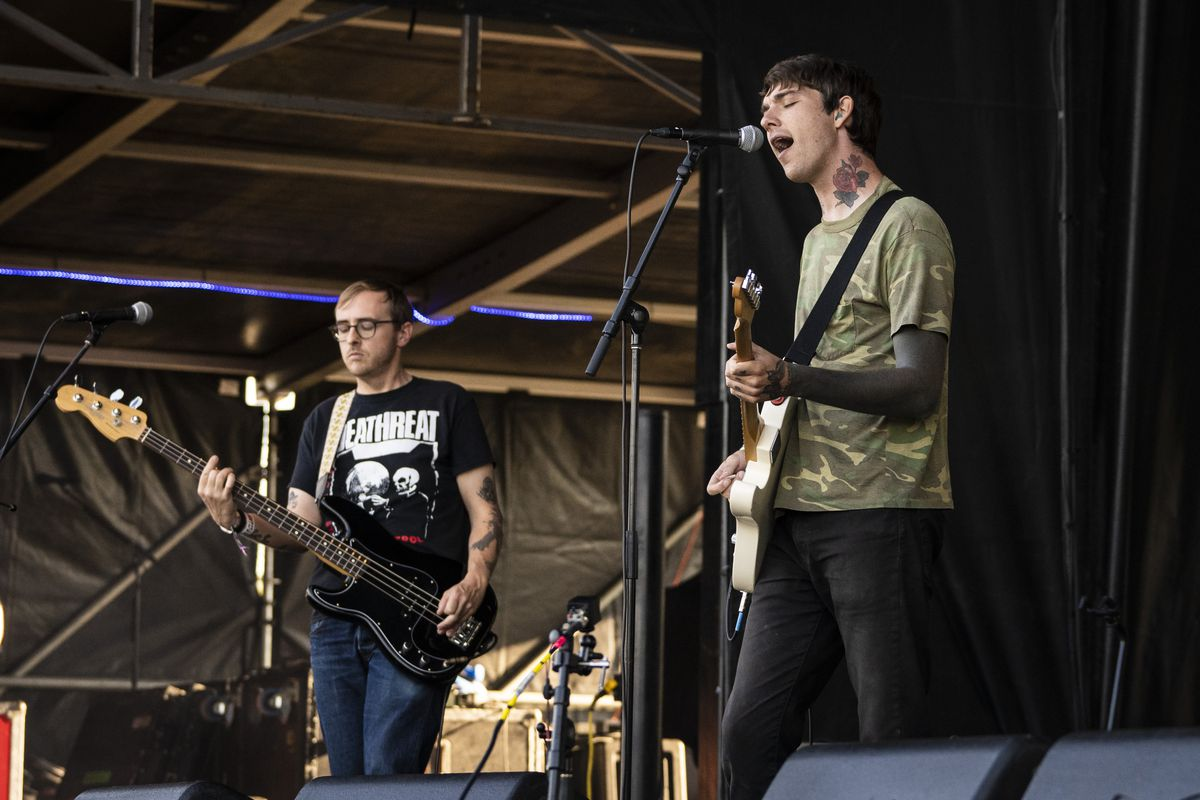 """Joyce Manor performs Thursday during the """"preview party"""" of Riot Fest in Douglass Park."""