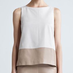 """<b>Paule Ka</b> Colorblock Leather Top, <a href=""""http://www.neimanmarcus.com/p/Paule-Ka-Colorblock-Leather-Top-Tops/prod153000074___/?icid=&searchType=MAIN&rte=%252Fsearch.jsp%253FNtt%253Dleather%2526_requestid%253D75047%2526N%253D4294914912&eItemId=prod1"""