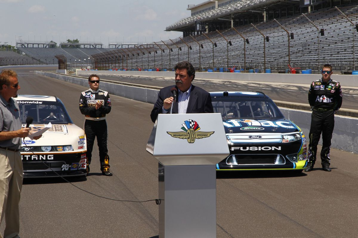 NASCAR President Mike Helton making his remarks on the 2012 Super Weekend at Indianapolis Motor Speedway. (Photo: Ron McQueeney/Indianapolis Motor Speedway)