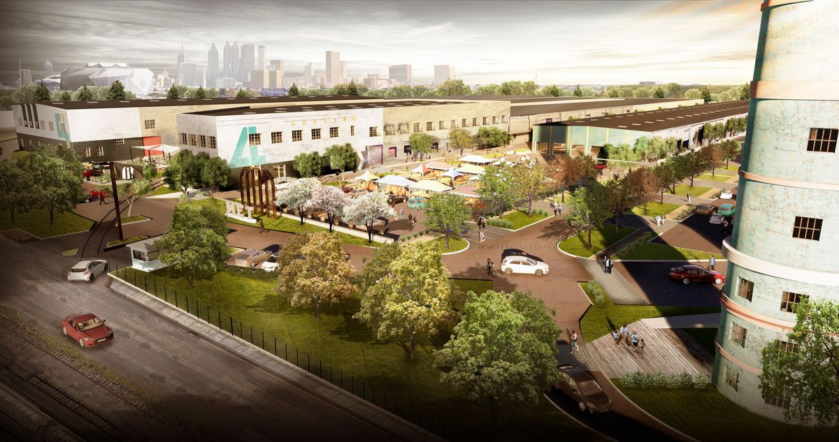 A rendering of the envisioned overhaul shows new vibrancy at the old warehouse complex.