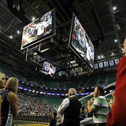 A new high-definition video display system is in use as the Utah Jazz scrimmage in Salt Lake City, Saturday, Oct. 5, 2013.
