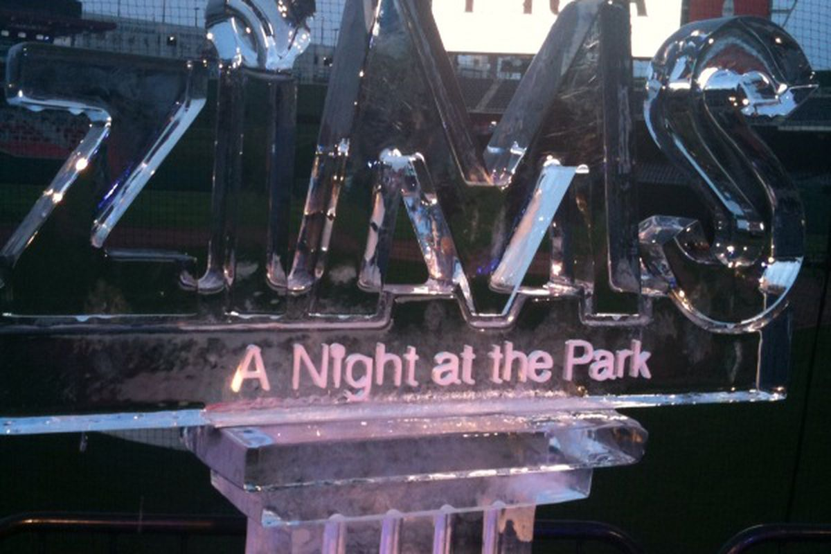 ziMS Foundation: A Night at the Park in Nationals Park. Ice sculpture behind home plate.