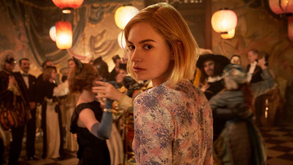 Lily James as Mrs. de Winter looking over her shoulder in Rebecca