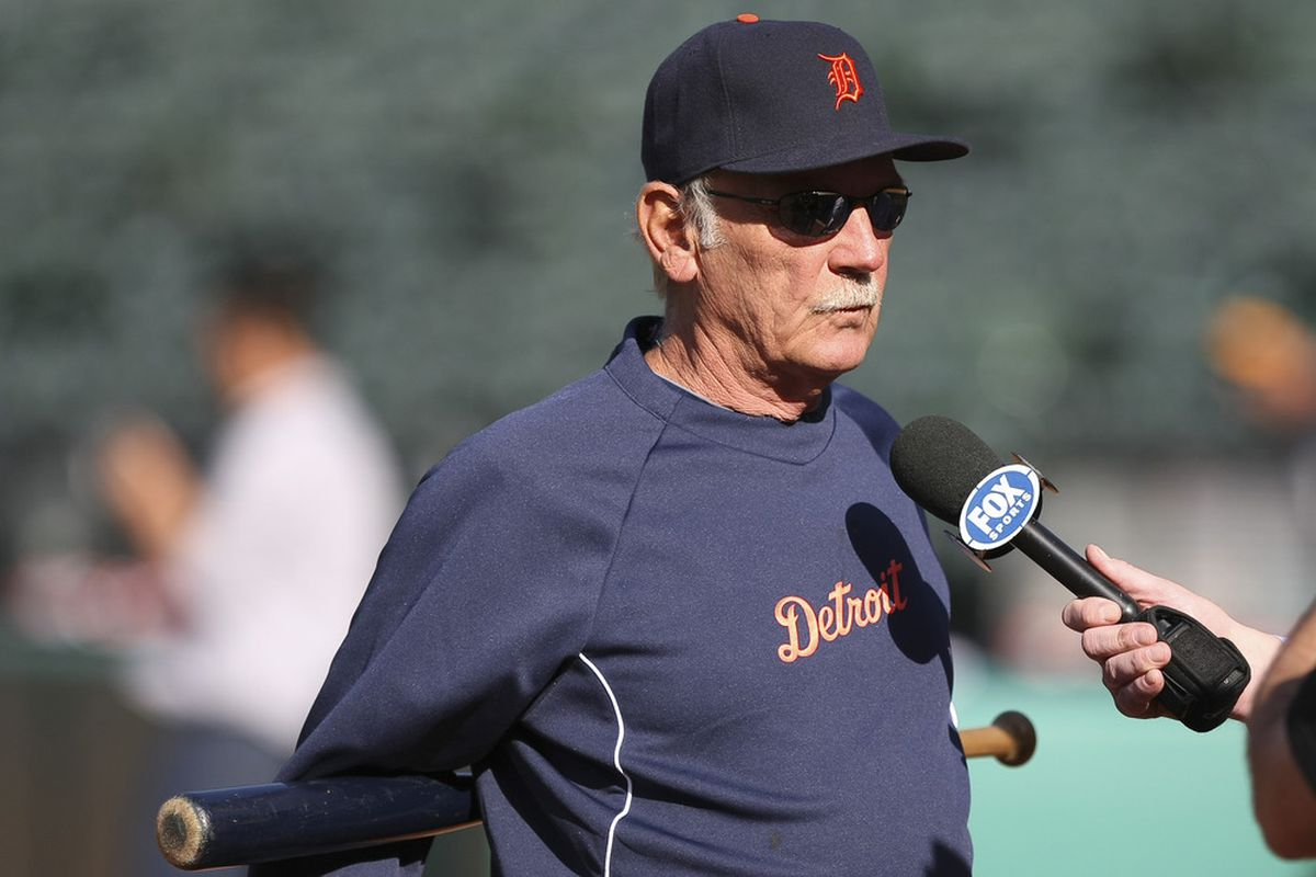 May 10, 2012; Oakland, CA, USA; Detroit Tigers manager Jim Leyland (10) speaks to the media before the game against the Oakland Athletics at O.co Coliseum. Mandatory Credit: Kelley L Cox-US PRESSWIRE