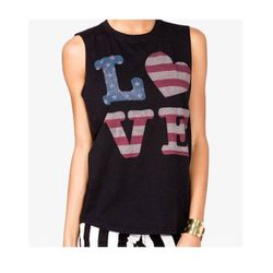 """<b>Forever 21</b> <a href=""""http://www.forever21.com/Product/Product.aspx?Br=F21&Category=top&ProductID=2050187049&VariantID="""">American Flag Love Muscle Tee</a>, $13.80"""