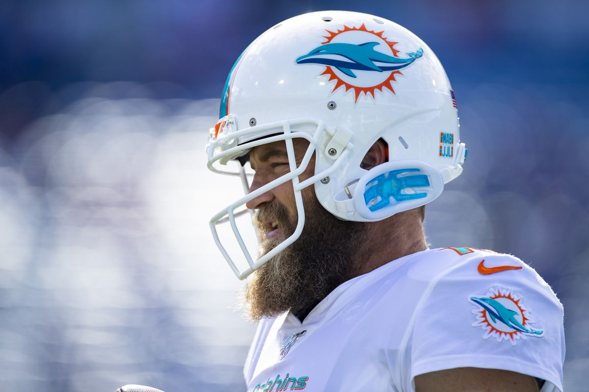 Ryan Fitzpatrick of the Miami Dolphins warms up before the game against the Buffalo Bills at New Era Field on October 20, 2019 in Orchard Park, New York.
