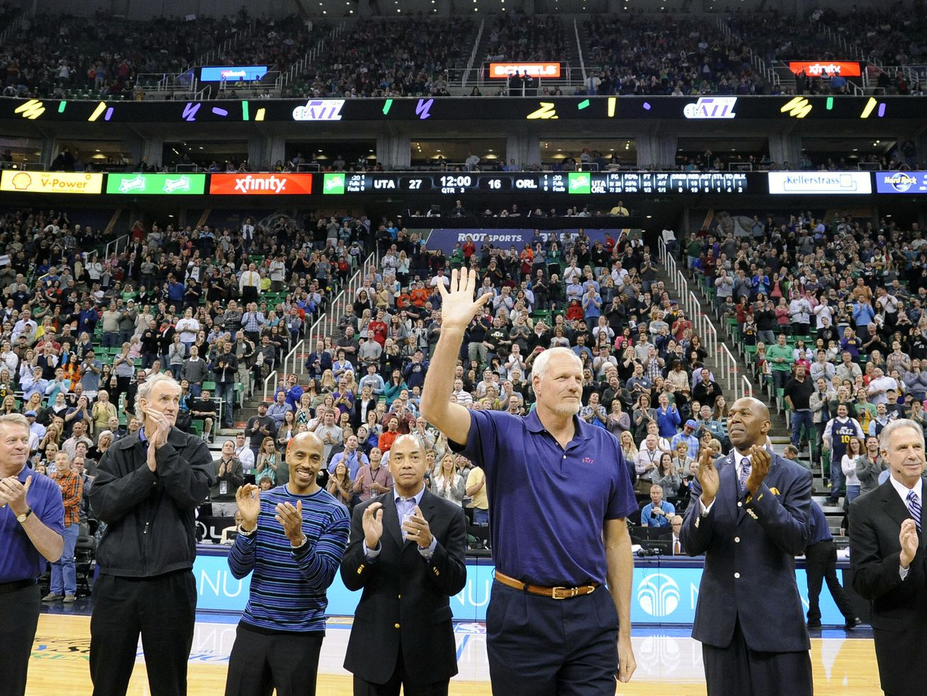 Mark Eaton along with the other members of the Jazz's first franchise playoff team are honored between the first and second quarter of a game against the Orlando Magic at EnergySolutions Arena on Saturday, March 22, 2014.