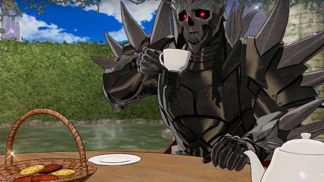 A heavily-armored enemy picks up a tea cup