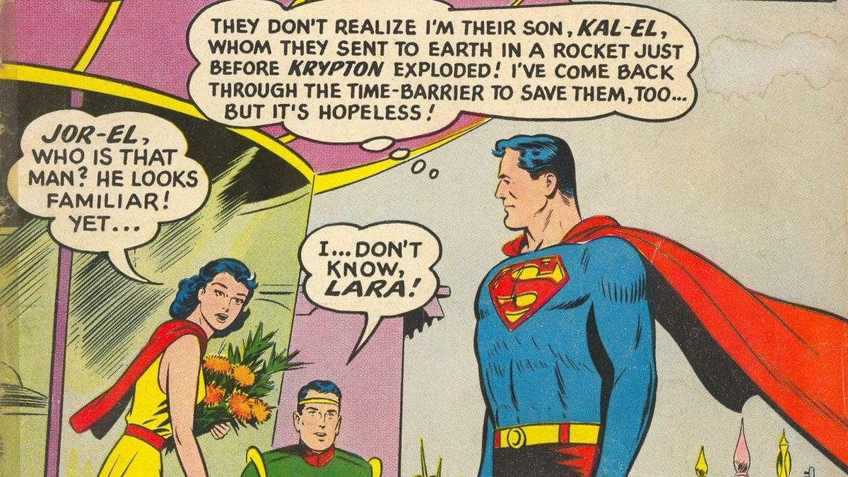 """Superman's birth parents, Jor-El and Lana, stand puzzled at the appearance of Superman, in full costume, on the planet Krypton. """"I've come back through the time-barrier to save them,"""" Superman muses, """"but it's hopeless!"""" on the cover of Superman #141, DC Comics (1960)."""