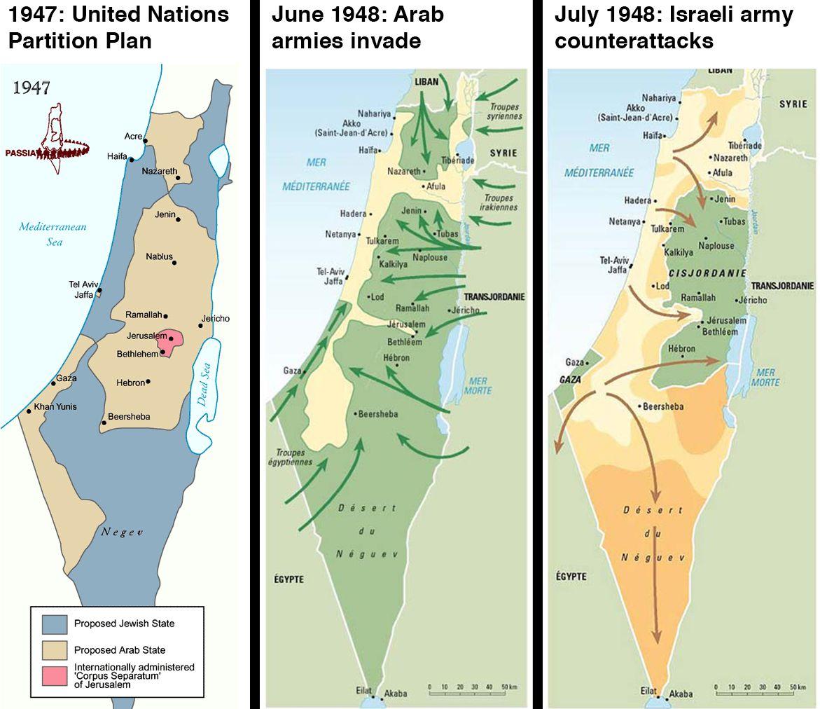 israeli arab war 1948 map
