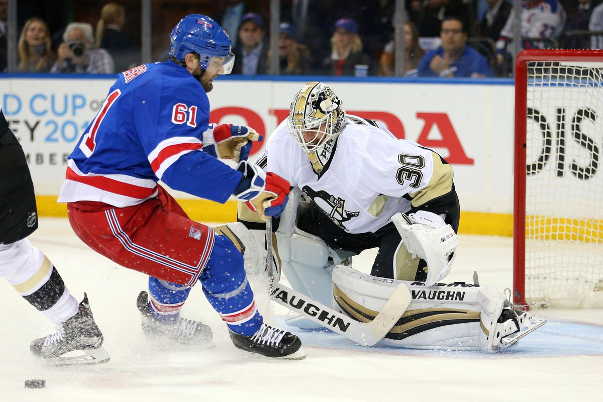 Penguins Vs Rangers 2016 Results Pittsburgh S Rookie Goalie Out