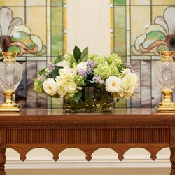 Art glass featuring the lotus flower can be found in the Provo City Center Temple.