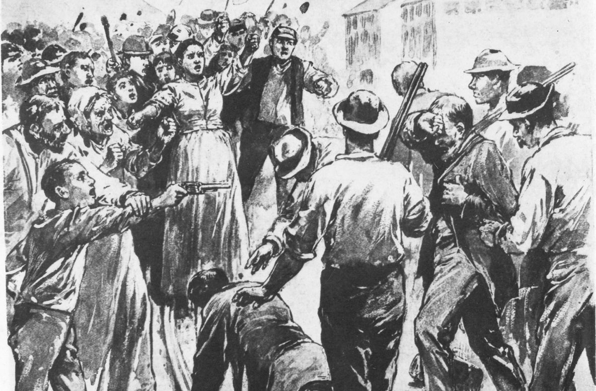 A depiction of violence during the Homestead Strike. (Photoquest/Getty Images)