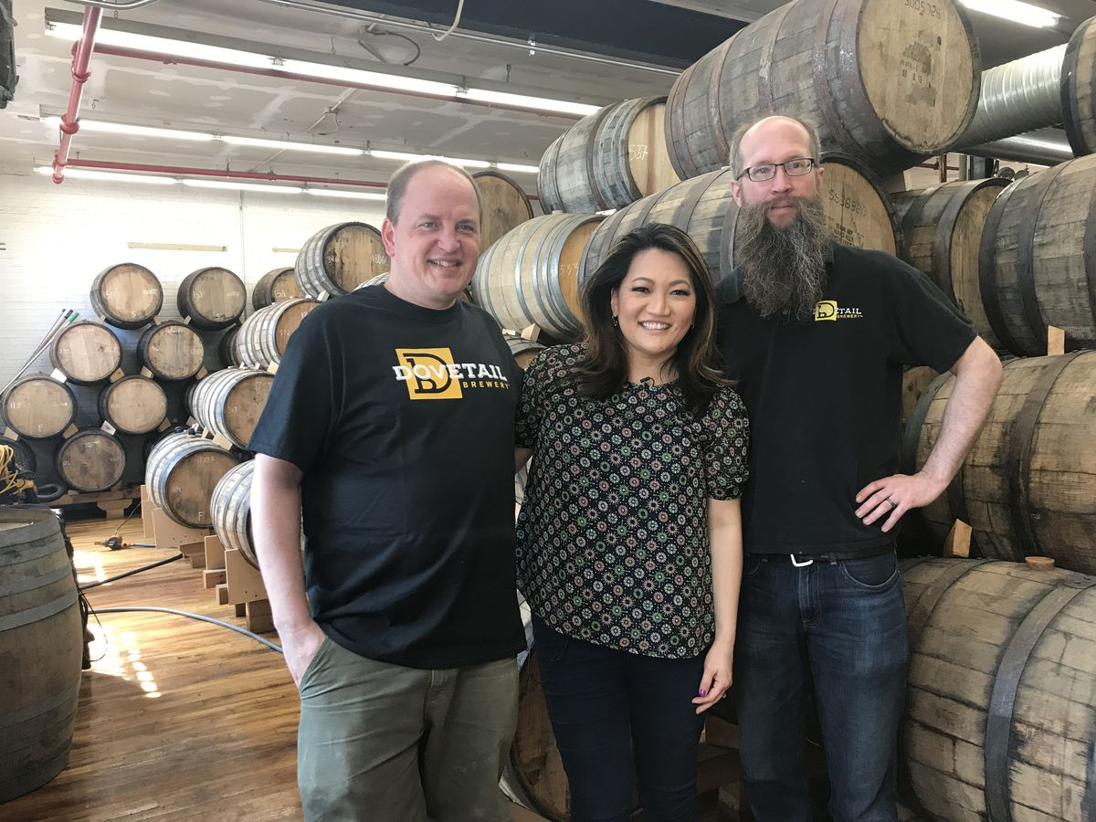 Dovetail co-owners/brewers Hagen Dost and Bill Wesselink with Ji Suk Yi in Ravenswood.   Brian Rich/For the Sun-Times
