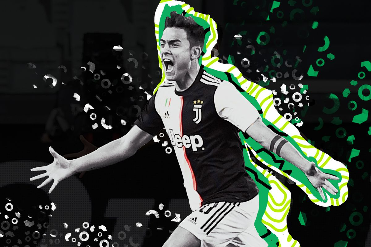 Paulo Dybala celebrating his goal against Inter Milan by running with his arms outstretched.