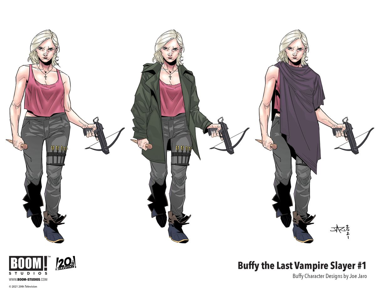 Buffy The Last Vampire Slayer - concept art sheets that shows Buffy Summers, a 50 year old woman with blond hair, in three takes on the same outfit as concept art.
