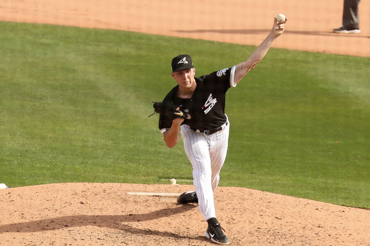 Garrett Crochet throws against the Cubs at Camelback Ranch in Glendale, Arizona, on March 3.